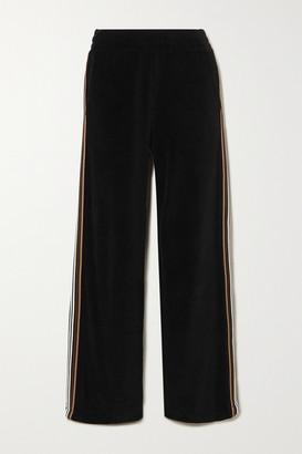 Burberry Striped Cotton-velour Track Pants - Black