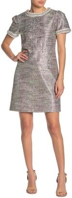 Betsey Johnson Imitation Pearl Embellished Metallic Tweed Dress