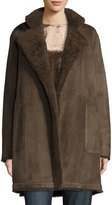 Vince Reversible Teddy Shearling Fur Coat, Dark Willow