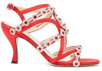 Christopher Kane Crystal-embellished Satin Sandals - Red