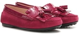 Tod's Lu Frangia Suede And Patent Leather Moccasins