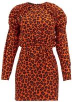 MSGM Ruffled Leopard-print Crepe Mini Dress - Womens - Orange