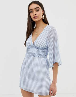 Fashion Union plunge front dress in gingham-Blue