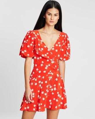 Bec & Bridge White Daisy Wrap Mini Dress