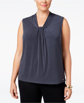 Calvin Klein Plus Size Knot-Front Shell
