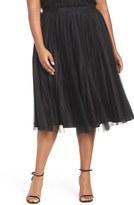 Adrianna Papell Plus Size Women's Sunburst Pleat Tulle Skirt