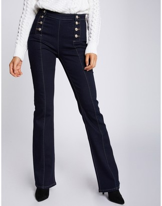 Morgan Untreated Flared High Waist Jeans