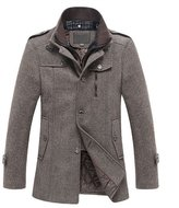 OCHENTA Men's Slim Fit Winter Wool Peacoat Overcoat Black Grey US XS - Asian M