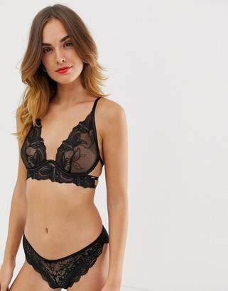 Bluebella Asmin floral mesh high apex bra with exposed wire detail in black