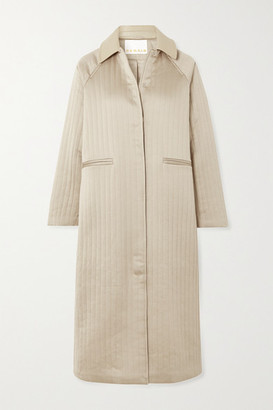 REMAIN Birger Christensen Kyoto Leather-trimmed Quilted Hammered-satin Coat