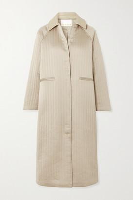 REMAIN Birger Christensen Kyoto Leather-trimmed Quilted Hammered-satin Coat - Ecru