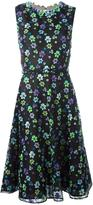 Oscar de la Renta floral embellished flared dress - women - Silk/Cotton/Polyester/Polyethylene - 4