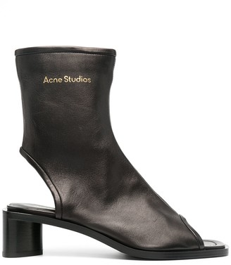 Acne Studios Open-Toe Leather Low-Heel Boots