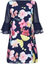 Yumi Butterfly Print Sheer Sleeves Tunic Dress