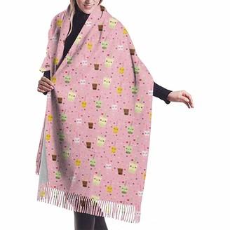 Yinyinyin.Womens Scarf Happy Boba Bubble Tea Womens Scarf Large Soft Silky Pashmina Cashmere Shawl Wrap 68 X 196 Cm