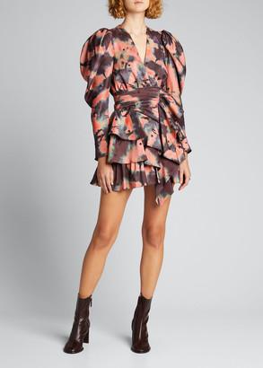 Ulla Johnson Semira Tiered Silk Tie-Dye Mini Dress