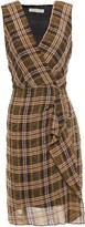 Vanessa Bruno Itana Wrap-effect Checked Crinkled-voile Mini Dress