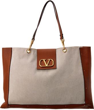 Valentino Vlogo City Safari Canvas & Leather Tote
