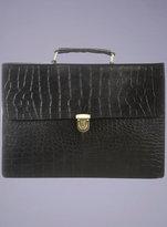 Topman Black Croc Leather Briefcase