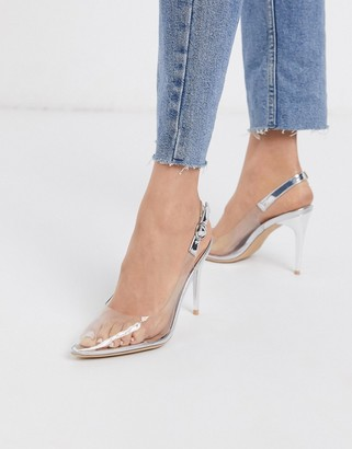 New Look clear sling back heeled shoes in silver