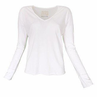 Lalipop Design Long Sleeve V-Neck White T-Shirt