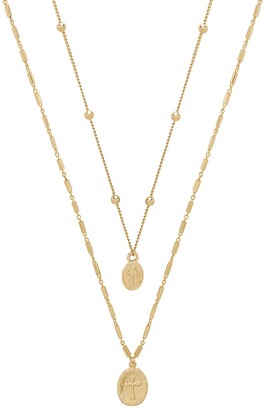 Ettika 18K Gold Plated Double Simple Coin Necklace Set