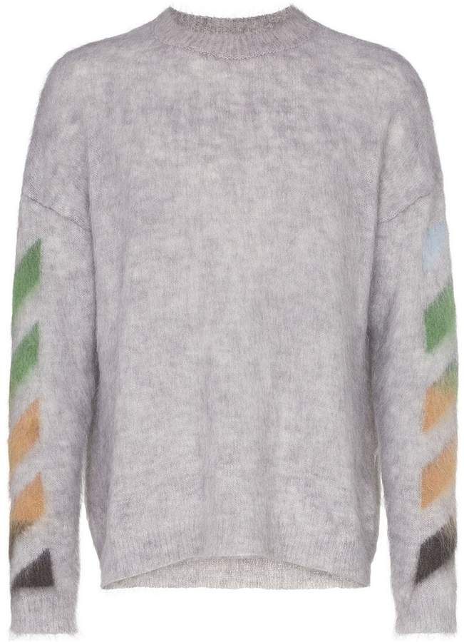 Off-White Mohair Stripe Detail Sweater