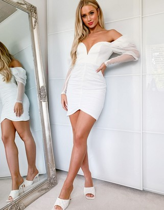ASOS DESIGN dobby mesh structured ruched bodycon puff-sleeved mini dress in white