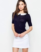 Yumi Dotty Sweater With Collar Detail