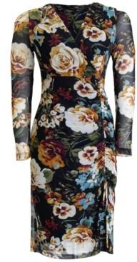Connected Floral-Print Mesh Midi Dress