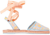 Sophia Webster Juana Leather-trimmed Jacquard Espadrilles - Turquoise