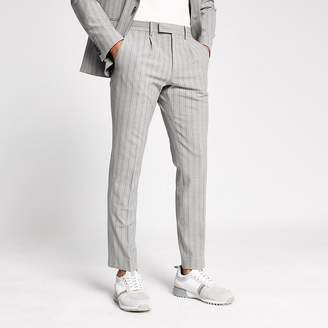 River Island Grey stripe skinny suit trousers