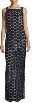 Michael Kors Circle Paillette-Embellished Column Gown, Navy