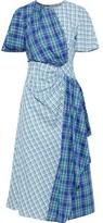 Prabal Gurung Draped Checked Cotton Midi Dress