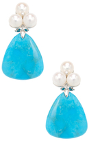 Rina Limor Fine Jewelry 14K White Gold, Turquoise, Freshwater Pearl & 0.04 Total Ct. Diamond Drop Earrings