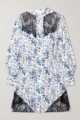 Fleur Du Mal Lace-paneled Floral-print Silk-georgette Mini Dress - White