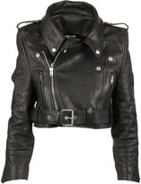 Vetements Cropped Leather Biker Jacket