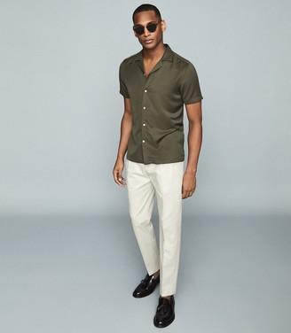 Reiss LANG Cuban collar shirt Oxidised Green