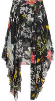 Preen by Thornton Bregazzi Alanis Asymmetric Printed Devoré Silk-blend Chiffon Skirt - Black