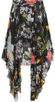 Preen by Thornton Bregazzi Alanis Asymmetric Printed Devoré Silk-blend Chiffon Skirt