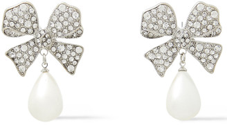 Kenneth Jay Lane Silver-tone, Faux Pearl And Crystal Earrings