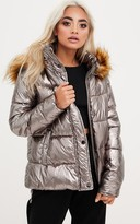 PrettyLittleThing Gunmetal Foil Puffer Jacket With Faux Fur Hood
