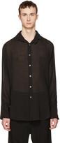 Ann Demeulemeester Black Sheer Two Button Shirt