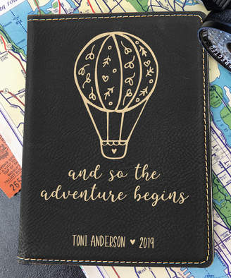 Stamp Out Online Passport Holders Black - Black & Gold 'Adventure Begins' Personalized Passport Cover