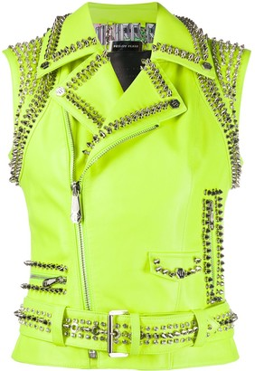 Philipp Plein Leather Crop Biker Jacket