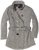 Amy Byer Girls 7-16 Tweed Funnel Neck Double Button Coat With Belt