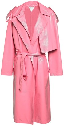 Bottega Veneta Patent Leather Trench Coat W/ Belt