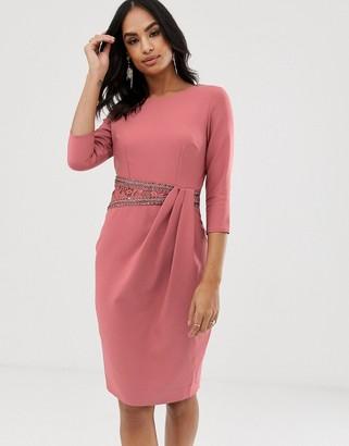 Little Mistress long sleeve embellished lace insert midi dress-Pink