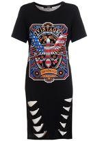Quiz Black Rock Print Laser Cut T-Shirt Dress