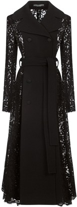 Dolce & Gabbana Lace-Insert Tie-Waist Trench Coat